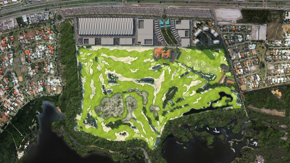 Visualisation showing an aerial view of the golf course setup for a tournament