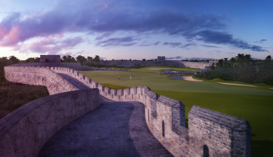The par 4 Great Wall hole at the Mission Hills Fantasy Course