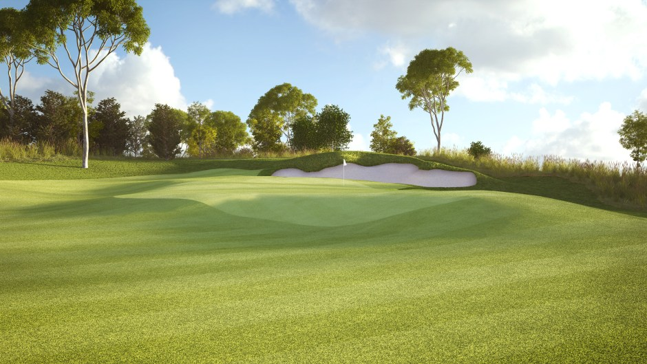 Visualisation of the green on hole 9 at Pacific Links National Golf Club