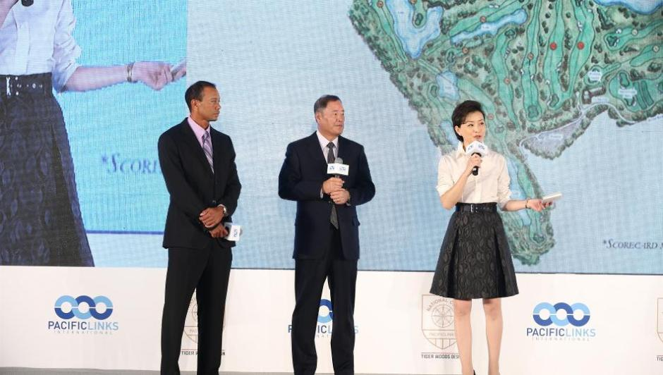 Photo of Tiger Woods presenting his course design for Pacific Links National Golf Club in Beijing