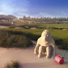 A CGI showing a monkey sand castle in a bunker on a golf course