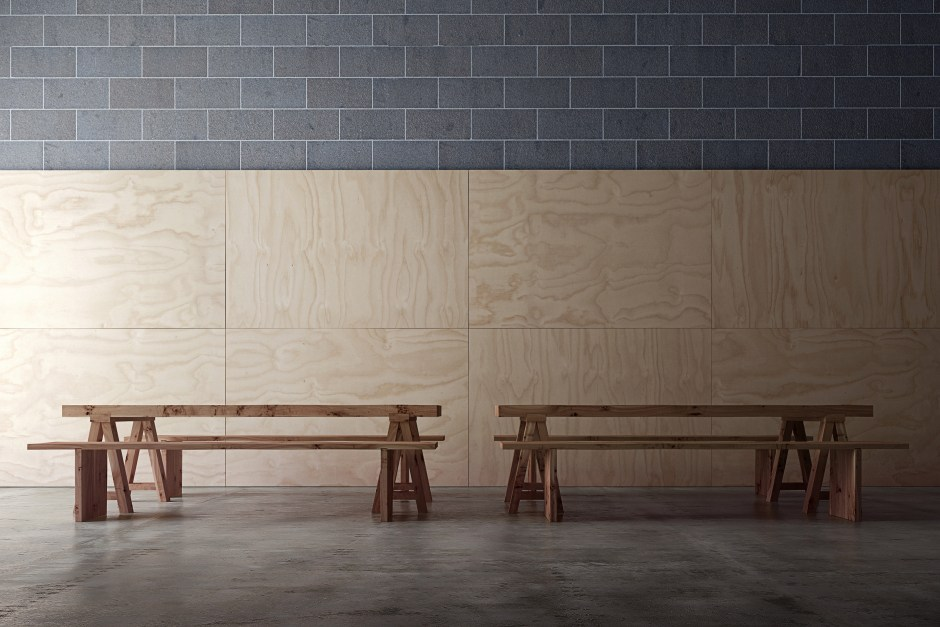 A render showing polished concrete floor, plywood walls and two benches
