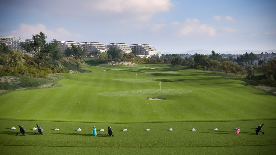 CGI showing the driving range and real estate