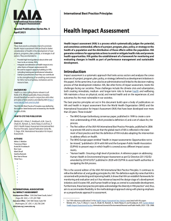 Cover of the International Best Practice Principles: Health Impact Assessment document