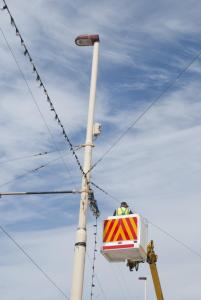 Lights installation using an access platform/cherry picker