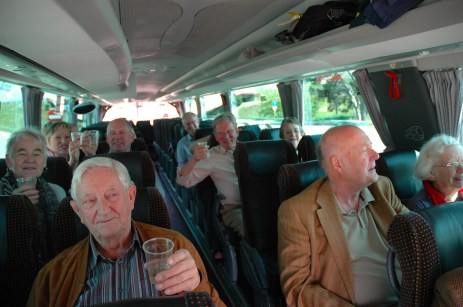 On the coach from Barcelona airport to Sitges, sipping Manzanilla