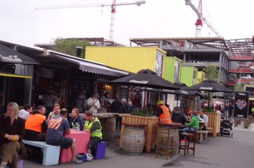Cafes , shops in containers and reconstruction.