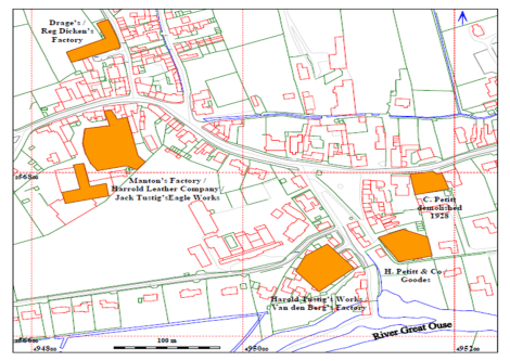 former sites of Harrold's leather factories
