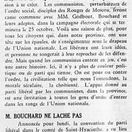 «Libéraux et communistes; M. T.-D. Bouchard ne lâche pas»