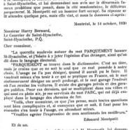«M. Édouard Montpetit nous écrit»