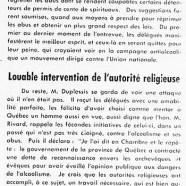 «Entr'aide et coopération; Louable intervention de l'autorité religieuse»