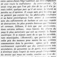«S. E. Mgr Gauthier et le communisme»