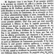 «L'honorable Maurice Duplessis, champion de l'autonomie provinciale»