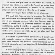 «La triste figure en politique que fait M. Jean Lesage»