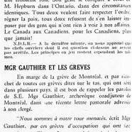 «M. Duplessis a raison; Mgr Gauthier et les grèves»