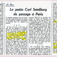 «Le poète Carl Sandburg de passage à Paris»