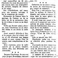 «Le dernier livre de Jacques Chardonne est son premier»