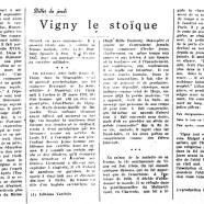 «Vigny le stoïque»