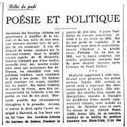«Poésie et politique»