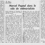 «Marcel Pagnol dans le rôle de mémorialiste»