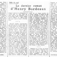 «Le dernier roman d'Henry Bordeaux»