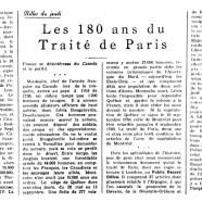 «Les 180 ans du Traité de Paris»