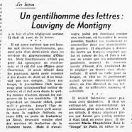 «Un gentilhomme des lettres : Louvigny de Montigny»