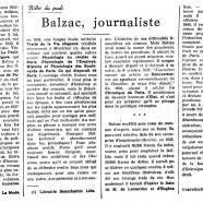 «Balzac, journaliste»