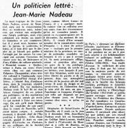«Un politicien lettré : Jean-Marie Nadeau»