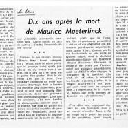 «Dix ans après la mort de Maurice Maeterlinck»