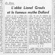 «L'abbé Lionel Groulx et le fameux mythe de Dollard»