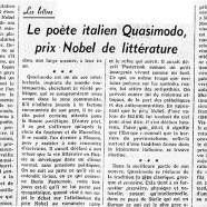 «Le poète italien Quasimodo, prix Nobel de littérature»
