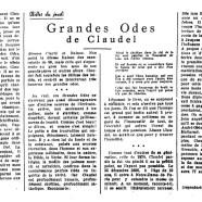 «Grandes odes de Claudel»