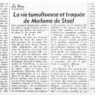 «La vie tumultueuse et traquée de Madame de Staël»