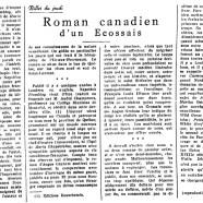 «Roman canadien d'un Écossais»