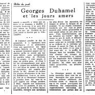 «Georges Duhamel et les jours amers»