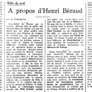 «À propos d'Henri Béraud»