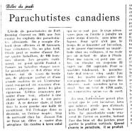 «Parachutistes canadiens»
