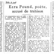 «Ezra Pound, poète, accusé de trahison»