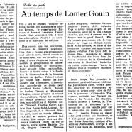 «Au temps de Lomer Gouin»