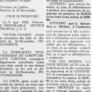 """«Jugement dans les causes Chabot vs """"Le Courrier"""" et Harry Bernard»"""