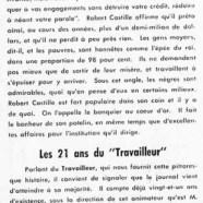 """«Le banquier au coeur d'or; Les 21 ans du """"Travailleur""""»"""