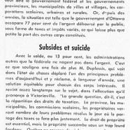 «Le problème de l'heure; Subsides et suicide»