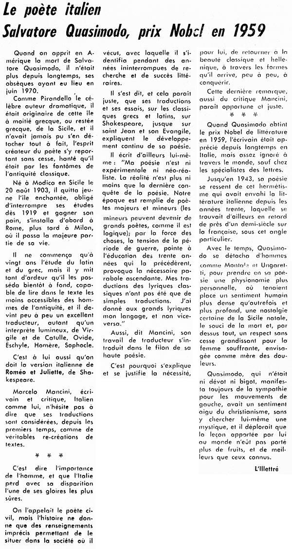 Nobel De Litterature En 1971 : nobel, litterature, Poète, Italien, Salvatore, Quasimodo,, Nobel, 1959», écrits, Harry, Bernard