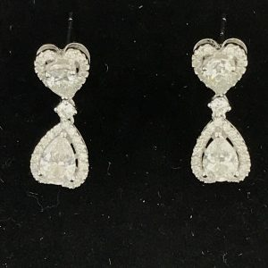 Harry Glinberg Jewelers - Fine 18K White Gold Diamond Heart Earrings