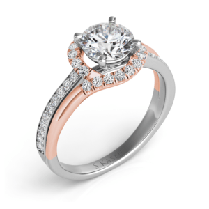 Harry Glinberg Jewelers - WHITE & ROSE GOLD ENGAGEMENT RING