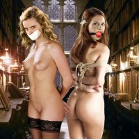 Ginny Weasley and Hermione are both bare and strapped... what kind of naughty magic is going to happen with them next?