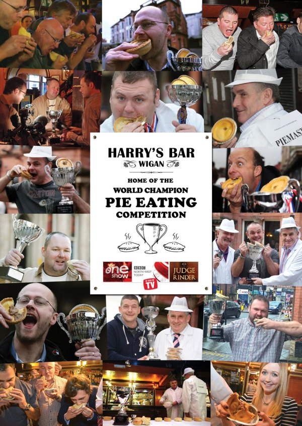 Previous World Pie Eating Champions - Harrys Bar Wigan