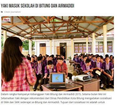 Aktivitas sosialisasi di SMA-SMA di Bitung dan Airmadidi oleh tim Selamatkan Yaki di Seputar Sulut bulan mei 2015