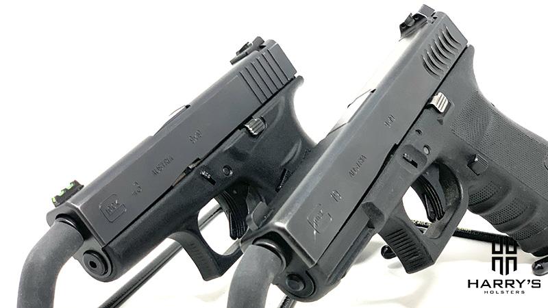 Glock 19 vs Glock 43 slide by side